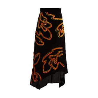 Floral Chenille Asymmetric Velvet Skirt