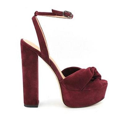 Claudette Suede Platform Sandals in Cabernet