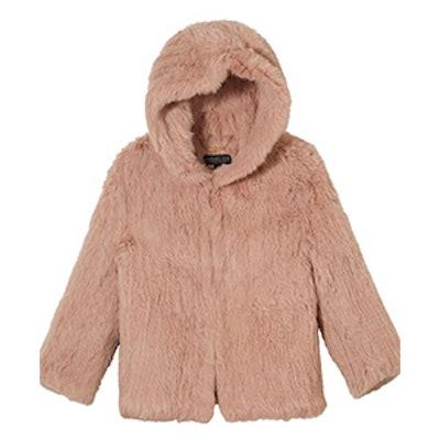 Rose Hooded Fur Jacket