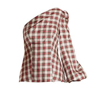 Dorset Checked One-Shoulder Silk-Twill Top