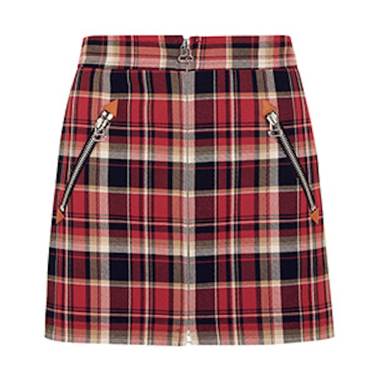 Leah Tartan Cotton Mini Skirt