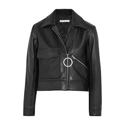 Sara Cropped Leather Biker Jacket