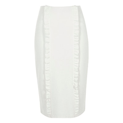 Cream Double Frill Panel Jersey Pencil Skirt