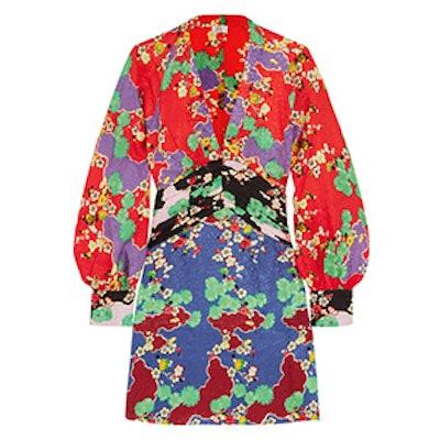 Alanna Printed Silk-Jacquard Mini Dress