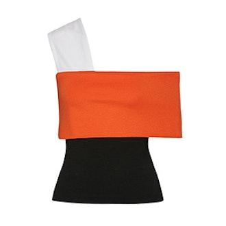 Color-Block One-Shoulder Stretch-Knit Top