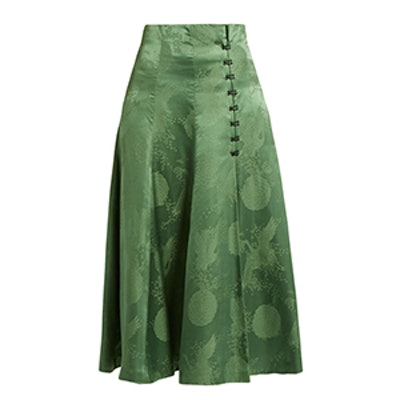 A-Line Satin Midi Skirt