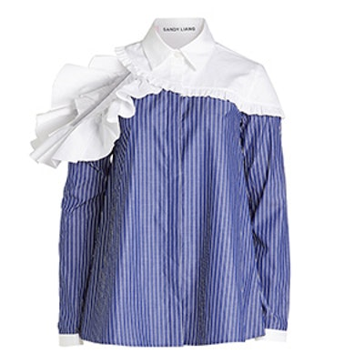 Cotton Shirt With Ruffle Trims and Cut-Out Back