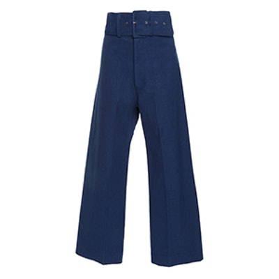 Belted Cropped Cotton-Blend Pants