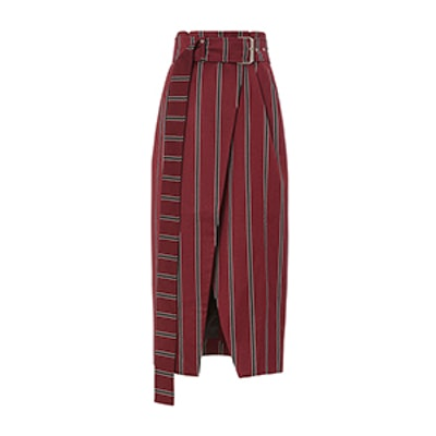 Apolline Belted Stripe Wrap Skirt