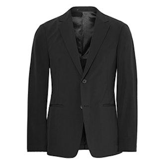 Black Semi Tech Slim-Fit Shell Blazer