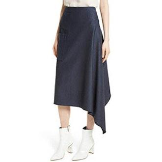 Origami Asymmetrical Twill Skirt