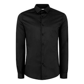 Black Satin Muscle Fit Shirt