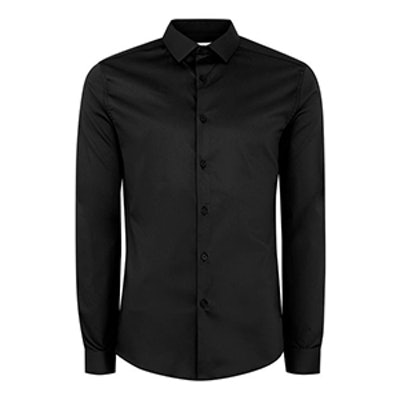 Black Satin Muscle Fit Shirt