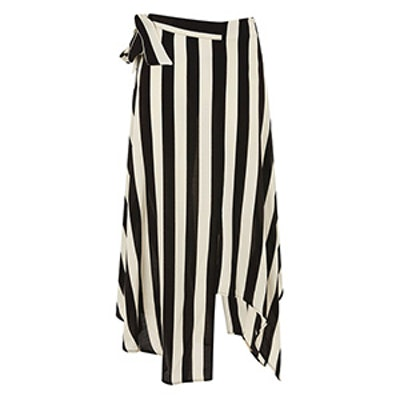 Stripe Hanky Hem Midi Skirt