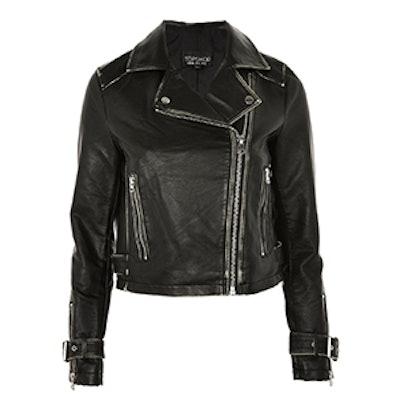 Washed PU Biker Jacket