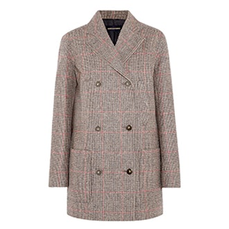Double-Breasted Checked Wool-Tweed Coat