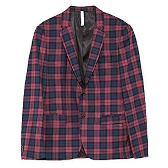 Checked Burgundy Suit Blazer