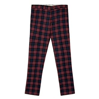 Checked Burgundy Suit Trousers