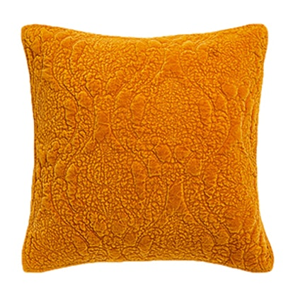 Faded Velvet Cushion Cover With Damask Motif