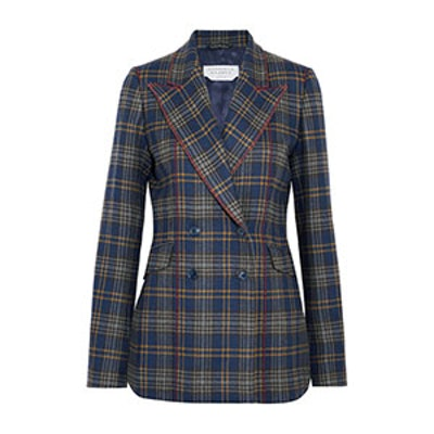 Angela Checked Merino Wool Blazer