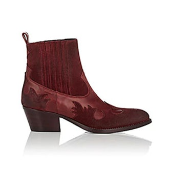 Leather & Suede Western Ankle Boots