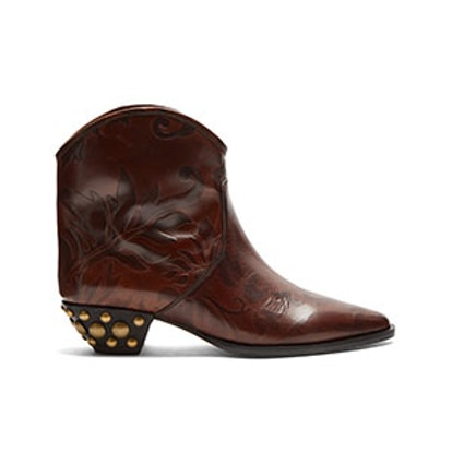 Dawina Embossed Leather Ankle Boots
