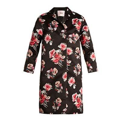 Floral-Print Satin Coat