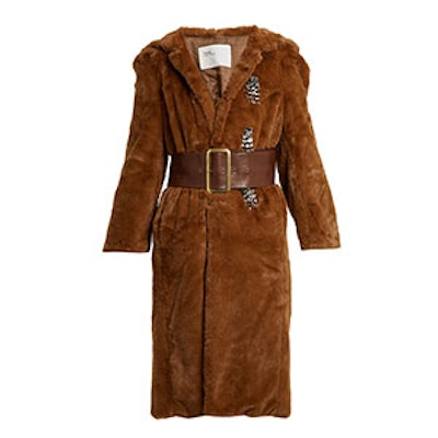 Point-Collar Bead-Embellished Faux-Fur Coat