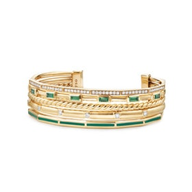 Stax Cuff With Diamonds, Green Enamel And Tsavorite In 18K Gold