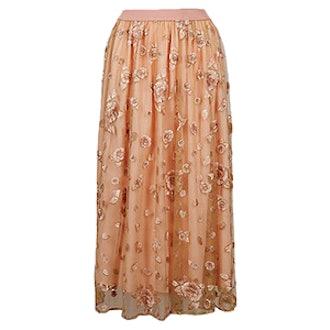 Embroidered A-Line Midi Skirt