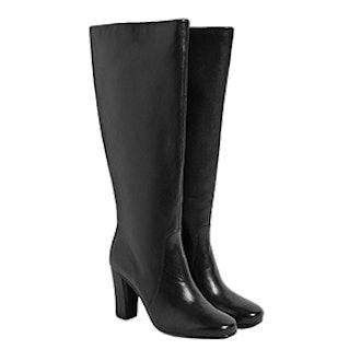Leather Block Heel Knee High Boots