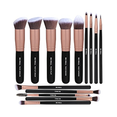 BS-MALL Premium 14 Pcs Synthetic Foundation Powder Concealers Eye Shadows Silver Black Makeup Brush Sets