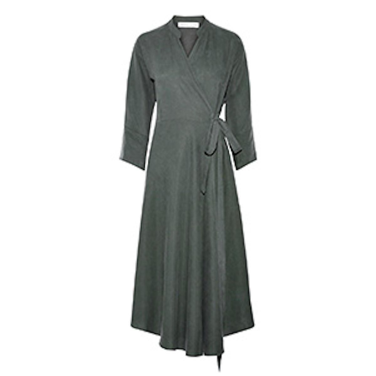 Wild Waves Tencel And Linen-Blend Wrap Midi Dress
