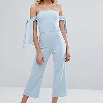 Bardot Culotte Jumpsuit With Tie Sleeves