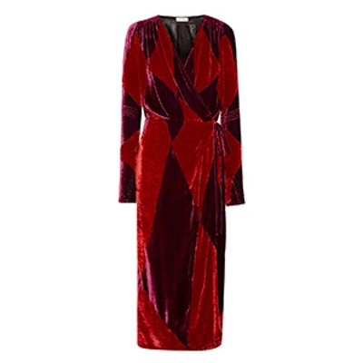 Victoria Two-Tone Velvet Wrap Midi Dress
