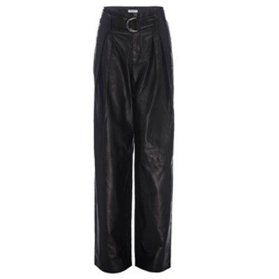 Wide Leg Leather Trouser