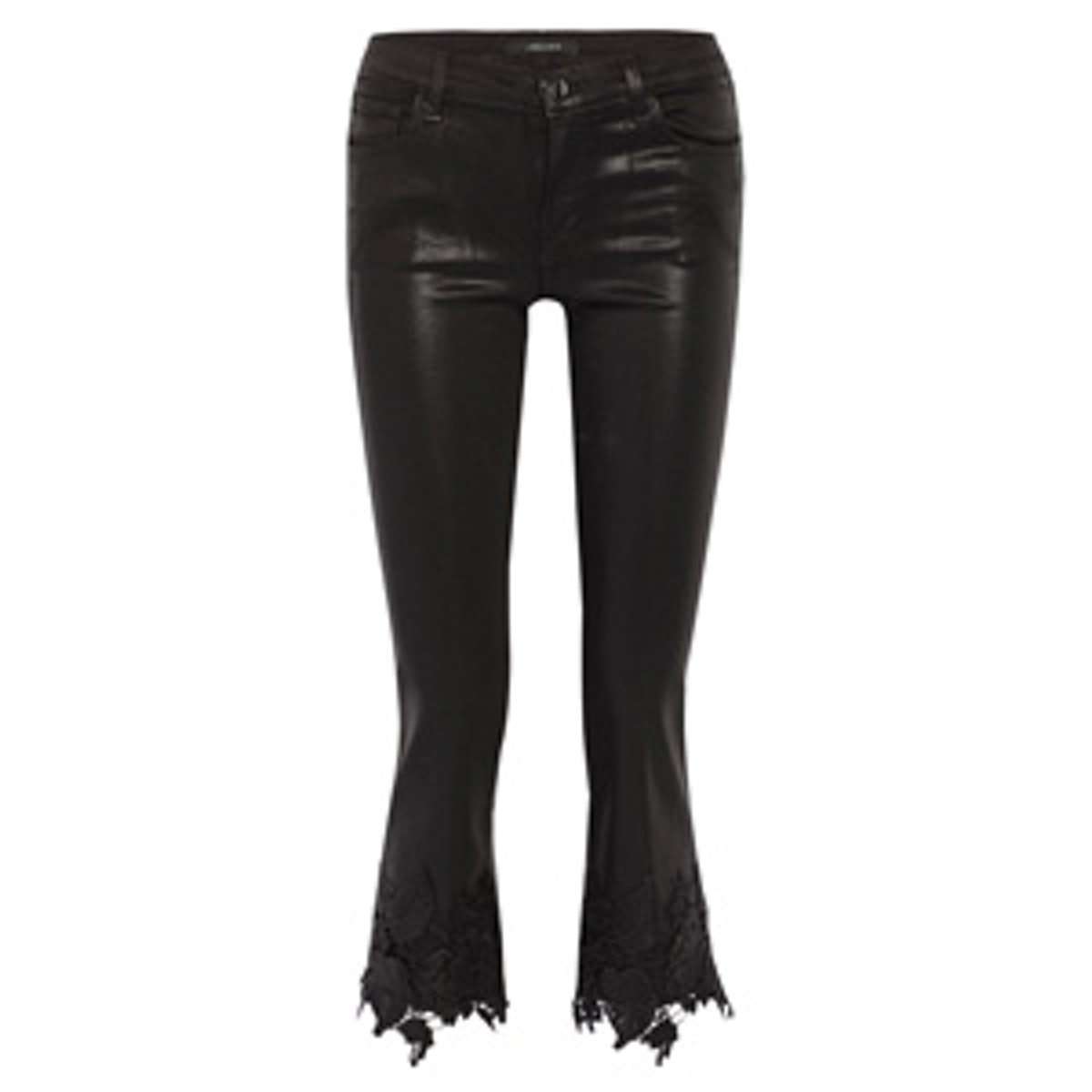 Selena Lace-Trimmed Cropped Coated Mid-Rise Flared Jeans