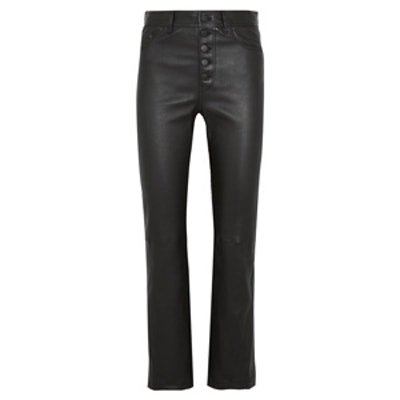 Den Cropped Stretch-Leather Straight-Leg Pants
