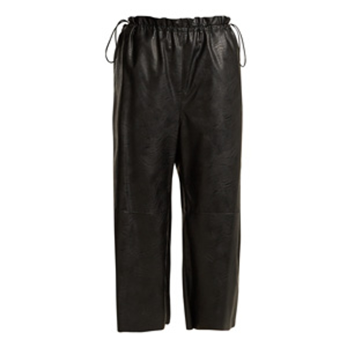Drawstring-Waist Faux-Leather Cropped Trousers