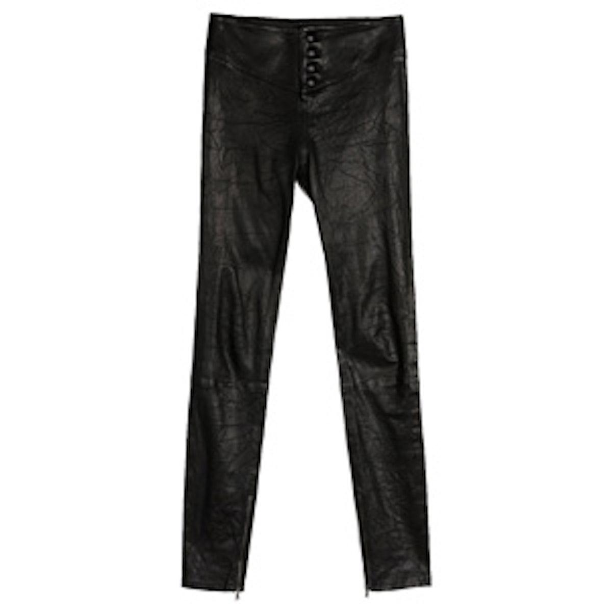 Ellery Ankle Zip Black Leather Pants