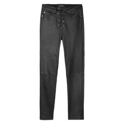 High-Waisted Lambskin Leather Trousers