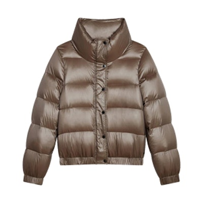 Down Puffer Jacket With Funnel Neck