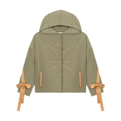 Cropped Hooded Down Jacket