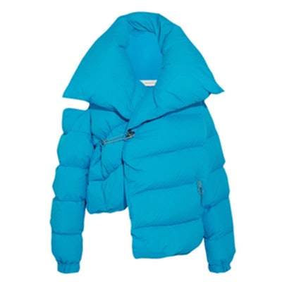 Cold-Shoulder Quilted Shell Down Jacket