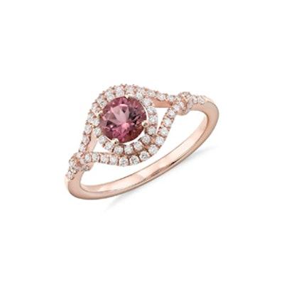 Pink Tourmaline and Diamond Halo Elegant Ring in 14k Rose Gold