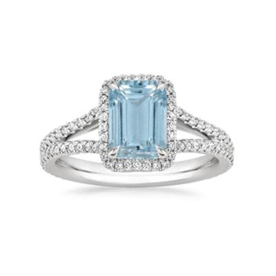 Platinum Aquamarine Fortuna Diamond Ring