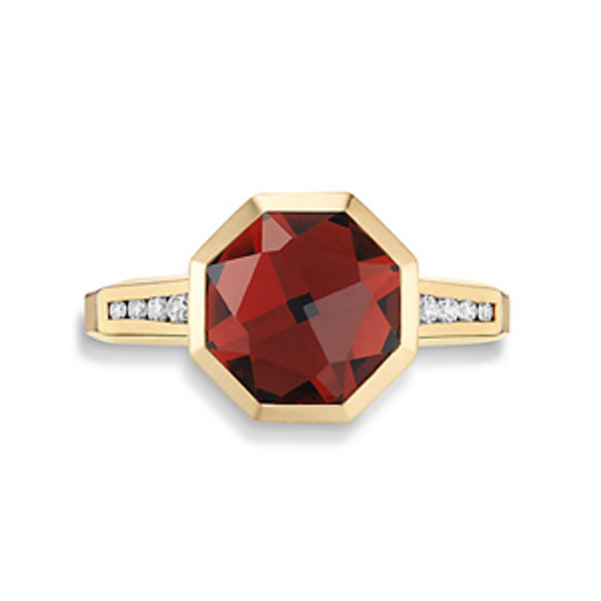 Guilin Octagon Ring With Garnet And Diamonds in 18K Gold