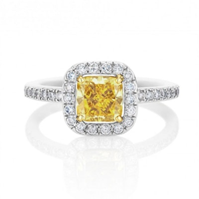 Yellow Aura Cushion Cut Ring