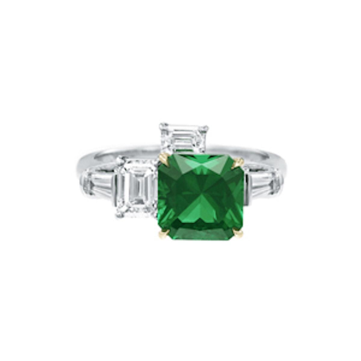 Emerald And Diamond Three Stone Ring