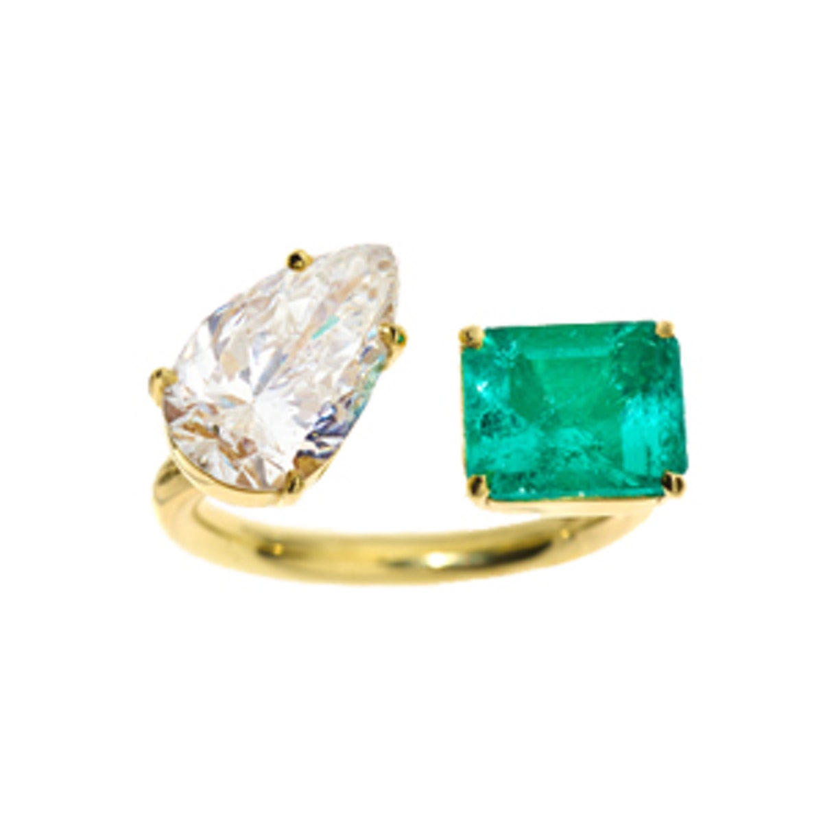 Diamond Pear And Emerald Engagement Ring